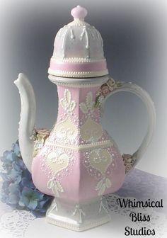 Whimsical Bliss Studios - Heart Lace Exotic Romance Tea/Coffee Pot