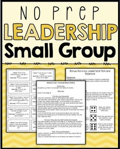 A 6 session, no-prep, social skills group plan focused on leadership. Each session includes an objective, discussion points and an activity. Also includes a 6 item survey to measure growth and two bonus activities. Table of Contents: p.3: General Group Hints p.4: Survey for Data Collection p.5: Session 1- What is Leadership? p.6-8: Session 2- What Makes A Good Leader? p.9-11: Session 3- Leader V. Boss p.12-13: Session 4- Thinking About Others p.14-15: Session 5- Growth Mindset- Learning From…