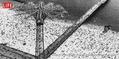 Coney Island parachute jump and beach, 1952.