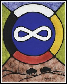 Métis Symbol with Bison  by Métis Artist Bouvette
