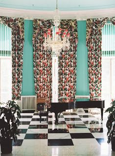 The Greenbrier, love the chintz, sparkly chandelier, Tiffany blue walls and black and white checkered floors... Dorothy Draper
