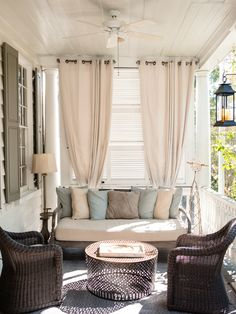 The best porches in Charleston: Zero George. Security Shutters, Charleston Hotels, Southern Porches, Privacy Walls, Rhyme And Reason, Hanging Curtains, Outdoor Living Areas, Cozy House, Warm And Cozy