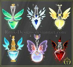 (CLOSED) Potion set 4 by Rittik-Designs- option 6 - Bilder /gezeichnetes etc. Anime Weapons, Fantasy Weapons, Armes Concept, Art Magique, Magic Bottles, Elemental Magic, Weapon Concept Art, Magic Art, Cute Drawings