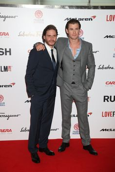 Daniel Bruhl and Chris Hemsworth at the movie #premiere in London