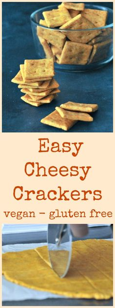 this quick and easy, gluten free vegan Cheese Crackers recipe gives you a crisp and tasty cracker for all kinds of snack boards, spreads, and dips! Vegan Party Food, Healthy Vegan Snacks, Easy Snacks, Vegan Appetizers, Homemade Crackers, Vegan Crackers, Vegan Cheese Cracker Recipe, Raw Food Recipes, Snack Recipes