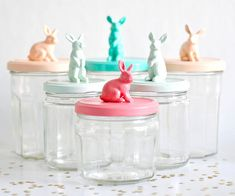 bunny jars:  glue on bunny figures to jar lids and spray paint