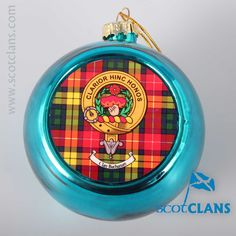 Buchanan Clan Crest and Tartan Christmas Ornament. Free worldwide shipping available
