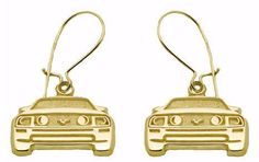 MUSTANG FRONT END PENDANT 14K YELLOW GOLD EARRINGS