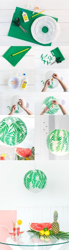 DIY Customized Paper Lamp - historiasdecasa.com.br -  Lámpara decorada con papel de seda