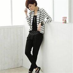 Slim Short Jacket Ladies White Striped Coat One Button Long Sleeve Outerwear Suit JacketsHG