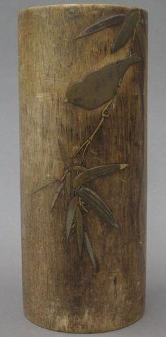 CHINESE BAMBOO BRUSH POT with metal inlay circa : Lot 8508 Chinese Bamboo, Oriental Decor, Bamboo Art, Chinese Brush, Chinese Painting, Ink Painting, Chinoiserie, Asian Art, Brushes