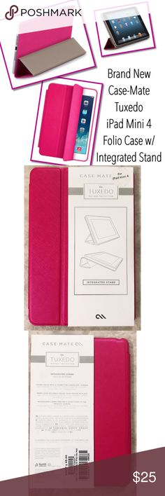 NIB Case-Mate Tuxedo Folio Case & Integrated Stand Brand New in original packaging-never opened. I ordered this and it was the wrong size. This is a Case-Mate Tuxedo Refined Protection Folio case with Intergraded Stand in pink. 🔅Fits the iPad mini 4 only🔆 I have this style case for all my iPads and absolutely love it! Hands down the best folio case I've tried for our iPads. The stand is awesome and very stable. Case-Mate Accessories Tablet Cases