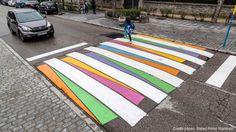 """""""Funny Crosses"""" Madrid experimentiert mit farbigen Zebrastreifen vor Schulen"""