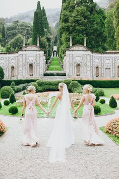 Beautiful & Timeless Lake Como Wedding in Italy. Gorgeous picture idea. One with my mum and sister like this would also be beautiful.✨  Pinterest: @EnchantedInPink