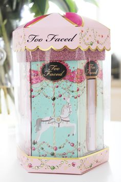How cute are these Christmas releases from Too Faced? As soon as I saw all the gold, pink and glittery packaging, I knew there was going to be something exciting inside!  Under The Mistletoe Gift Set Beauty Wishes and Sweet Kisses Gift Set La Belle Carousel Everything Nice Palette