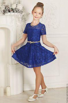 """Dress for girl / Одежда для девочек, ручной работы. Нарядное платье для девочки """"Кокетка"""" (василек -75). """"Рюши Ксюши"""". Интернет-магазин Ярмарка Мастеров."""