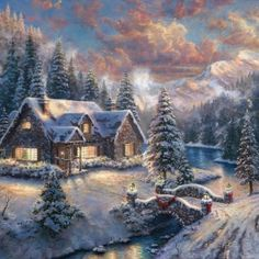 Christmas - The look of Christmas, with its trees and garlands and twinkling lights, is of course well known. But for Thomas Kinkade Studios, the challenge in painting Thomas Kinkade Disney, Thomas Kinkade Art, Thomas Kinkade Christmas, Christmas Scene Drawing, Christmas Paintings, Paintings Famous, Cross Paintings, Famous Artists, Oil Paintings