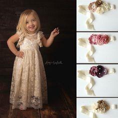 open back flower girl dress girls lace dress by HeirloomsDressCo