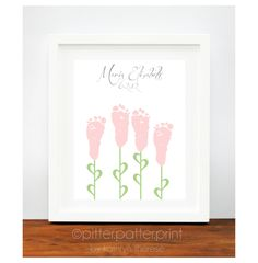 Baby Girl Nursery Art Print - Baby Footprint Flowers - Personalized Baby Wall Art - Childrens Art - Pink, Yellow, Lilac Nursery Decor. $30.00, via Etsy.