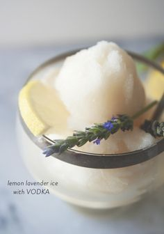 This lemon lavender ice with vodka is a sweet summer adult treat.