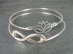 Silver Lotus & Infinity Bangle Bracelet  Sliver by BaubleVine