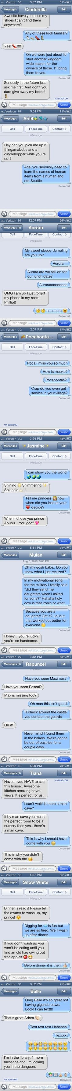 10 Texts From Disney Princesses To Their Princes