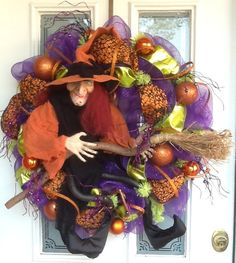 Large Orange Witch with Broom