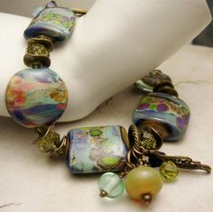 Lampwork Bracelet with Antique Brass by StoneDesignsbySheila, $129.00