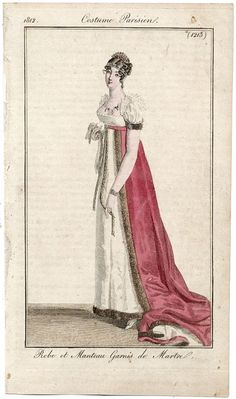 Costume Parisien 1812. Regency fashion plate.  [resketch change red to a red or blue silk plaid.]