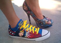 Wonder Woman sneaker and stiletto pump...I want those sneakers and @Erin B Garson Hause can have the pumps!