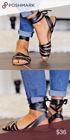 Tanya Black Lace Up Sandals How cute are these lace up sandals?! We love the detail of the ties in the back to take this sandal from a basic to a hot trend! Fits true to size Lulupie Shoes Sandals