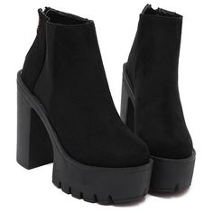 Black Thick-soled Elastic Boots (35060 IQD) ❤ liked on Polyvore featuring shoes, boots, black, chunky black boots, black shoes, black platform shoes, black boots and platform boots
