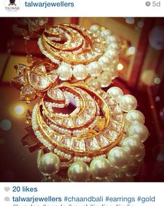 Polki earrings with pearl drops by Talwar Jewellers - Jewelry
