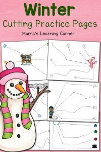 Winter Cutting Practice Pages - Mamas Learning Corner Cutting Activities For Kids, Preschool Cutting Practice, Preschool Learning, Preschool Activities, Winter Activities, Preschool Education, Early Learning, Teaching Ideas, Scissor Practice