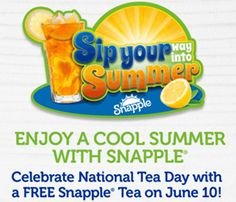 FREE Snapple Drink Coupon on http://hunt4freebies.com