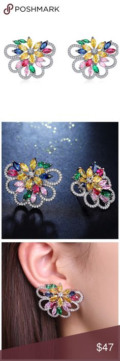 """🆕 Swarovski Crystals Colorful Cluster Earrings ‼️ PRICE FIRM ‼️ 10% DISCOUNT ON 2 OR MORE ITEMS FROM MY CLOSET ‼️   Handmade Drop Earrings With Swarovski Crystal  Retail $120  To say that this is a spectacular pair of earrings would be an understatement. Beautifully & skillfully handcrafted using the finest Swarovski crystals with a 14K white gold overlay. Approximately 1.2"""" by 1.4"""". These earrings are unbelievably gorgeous! Please check my closet for many more items including designer…"""