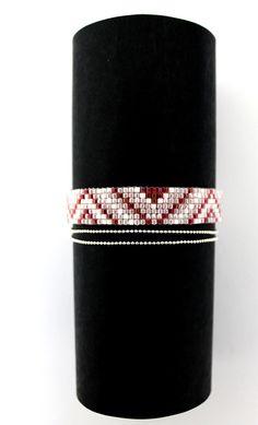 Bracelet tissé Miyuki blanc, rose foncé, rose pâle : Bracelet par…