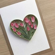 Quilling Heart - Heart of pitted tulips - Wedding ha - Quilled Paper Art Paper Quilling Cards, Paper Quilling Flowers, Paper Quilling Patterns, Origami And Quilling, Quilled Paper Art, Paper Crafts Origami, Quilling Craft, 3d Paper, Quilling Ideas