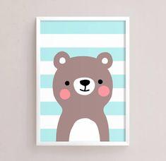 Sale Off - Printable Nursery Art Set of 4 - Fox Panda Lion Bear ( Baby room decor kids Poster Cute Animals kawaii Nursery art Woodland Baby Room Paintings, Baby Painting, Baby Animal Drawings, Kawaii, Kids Poster, Sale 50, Pop Up Cards, Baby Room Decor, Nursery Art