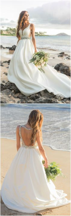 Glam wedding dress, bedazzled bridal gown, Hawaii bride, backless // Karma Hill Photography