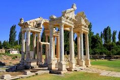 Aphrodisias is one of the oldest sacred sites in Turkey. Dedicated to the ancient Mother Goddess and then the Greek goddess Aphrodite, it was the site of a magnificent Temple of Aphrodite and the home of a renowned school of marble sculpture. The Temple of Aphrodite later became a Christian basilica through an impressive swapping of columns.