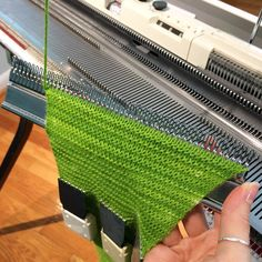 A few pictures of the garter bar process.  Scroll for more pics!  #garterstitch #singermachine #yarnlove #wool #knittinglove #machineknitting #knittingmachine #knit #knitting #knittingproject