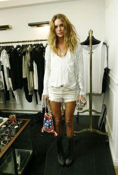 via Erin Wasson. Love the white on white with black boots. #summerfashion