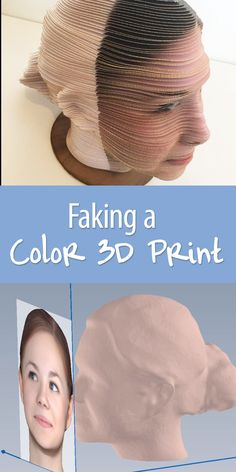 Use paper, a printer, and a laser cutter (or similar method of cutting paper) to fake a color 3D print.