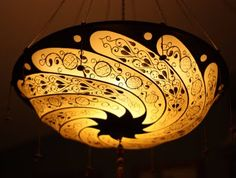 Fortuny hand painted silk lamp shade.