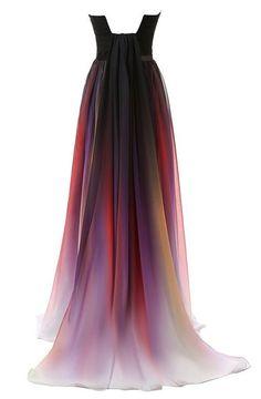 Dormencir Women's Gradient Colorful Chiffon Long Formal Evening Prom Dresses (24W, Purple)