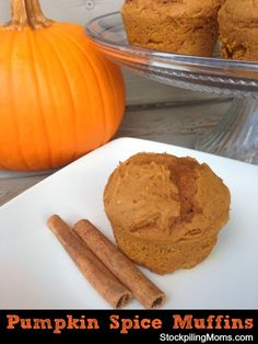 Only 2 ingredients and 3 Weight Watchers points in these delicious Pumpkin Spice Muffins!
