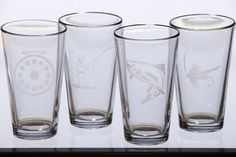Fly fishing etched pint glasses  set of 4 by EastMesaDesign, $54.00