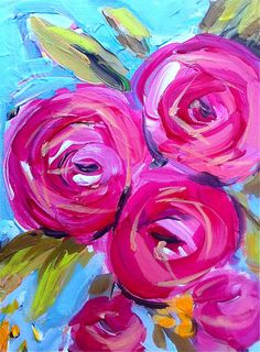 Abstract Roses pink aqua by Marendevineart on Etsy