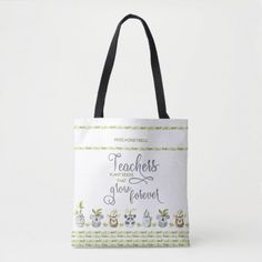 Teacher Appreciation Gifts, Teacher Gifts, Teacher Tote Bags, Bag Quotes, Personalized Tote Bags, Vintage School, Teacher Quotes, Green And Brown, Olive Green
